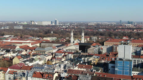 Aerial footage of the architecture of Munich, Germany on a sunny day, 4k Live Action