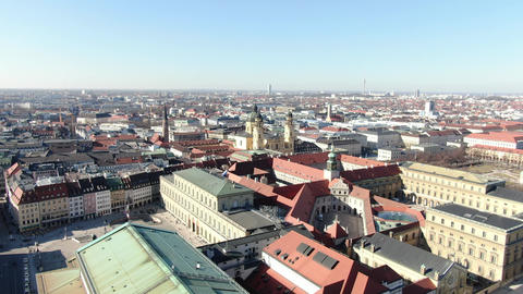 Aerial footage of the streets and architecture of Munich, Germany, 4k Live Action