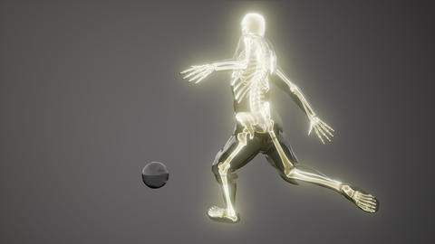 soccer player with visible bones Medical Scan Footage