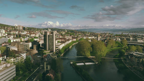 ZURICH, SWITZERLAND - APRIL 28, 2019. Aerial view of the cityscape and the River Footage