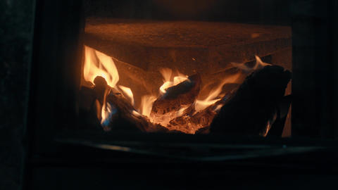 Wood burning in the stove Footage