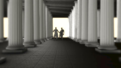 Two Greek Roman Senators Talking Inside of a Greek Roman Temple Footage
