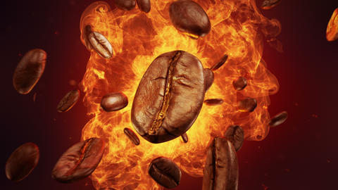 Explosion of roasted coffee beans Videos animados