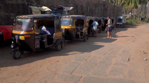 Available transport in India.Rickshaw or Tuk tuk GIF