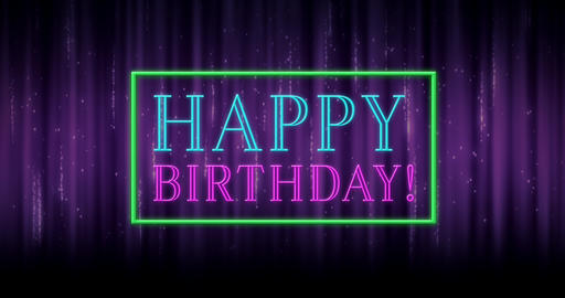 Animation of happy birthday text in a rectangle sparking 4k Animation