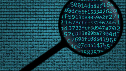 Magnifying glass discovers cyberattack word on computer screen Footage