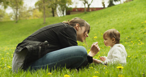 Baby and her mother playing with dandelions in the park Archivo