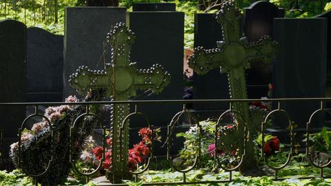 Iron crosses on graves Footage