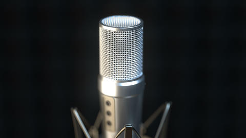 Camera approaching professional microphone in sound recording studio Animation