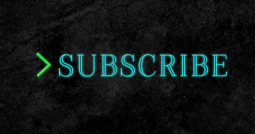 Animation of subscribe text flickering in blue with green arrow 4k Animation