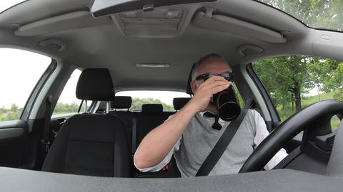 Manager Man Businessman Driving Car And Drinking Coffee Footage