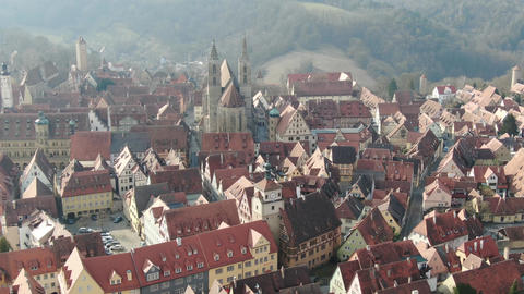 Rothenburg ob der Tauber from high angle, medieval architecture, 4k Live Action