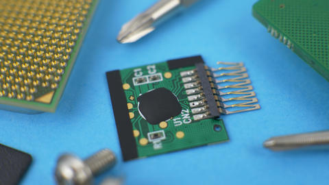 Electronic Green Circuit Board with Microchip and Transistors Live Action