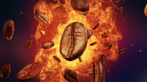 Explosion of roasted coffee beans Animation