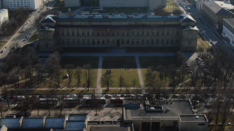 Aerial footage of the art museum and the museum of Egyptian art, Munich, 4k Live Action