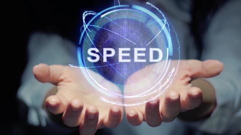 Hands show round hologram Speed Footage