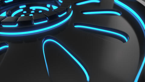 0863 Technological background loop with blue glowing lines Footage