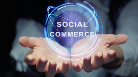 Hands show round hologram Social commerce Live Action