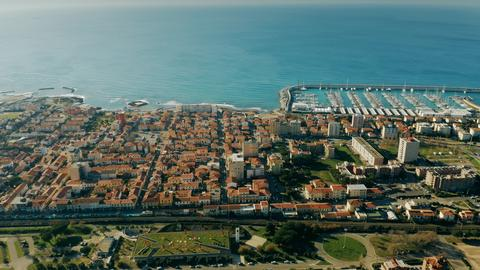 Aerial view of Rosignano Solvay seafront and marina. Tuscany, Italy Photo