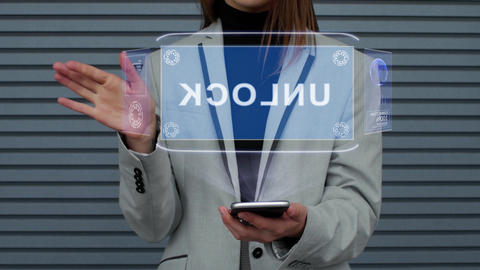Business woman interacts HUD hologram Unlock Footage