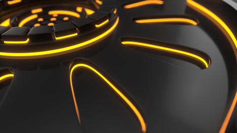 0881 Technological background loop with orange glowing lines Footage
