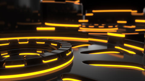 0883 Technological background loop with orange glowing lines Footage
