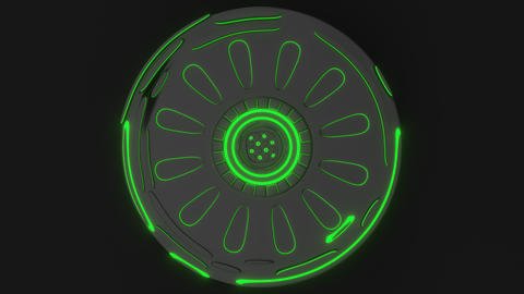 0870 Technological background loop with green glowing lines Footage