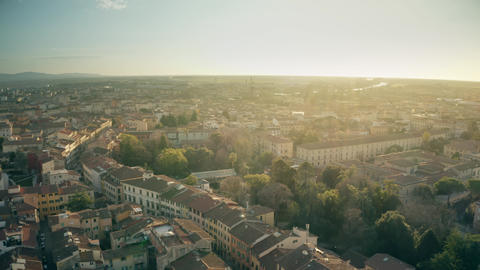 Aerial view of cityscape of Pisa in the evening, Italy GIF