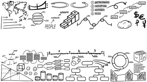 Texture of hand drawn infographics with place for text CG動画素材