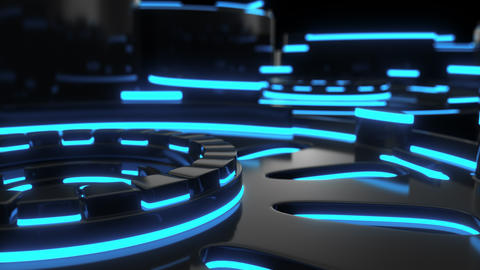 0865 Technological background loop with blue glowing lines Footage