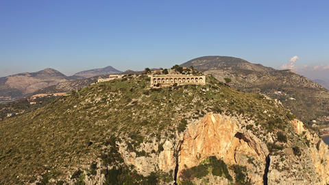 Aerial view of ancient temple of Jupiter Anxur in Terracina, Italy Footage