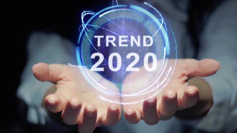 Hands show round hologram Trend 2020 Footage