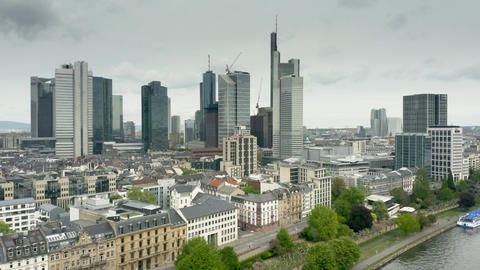 FRANKFURT AM MAIN, GERMANY - APRIL 29, 2019. Aerial view of riverfront and city GIF