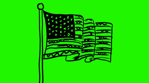 American Stars and Stripes Flag Wave Drawing 2D Animation Animation