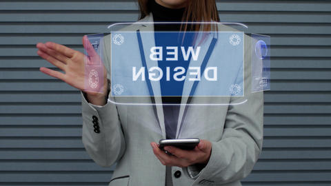 Business woman interacts HUD hologram Web Design Footage