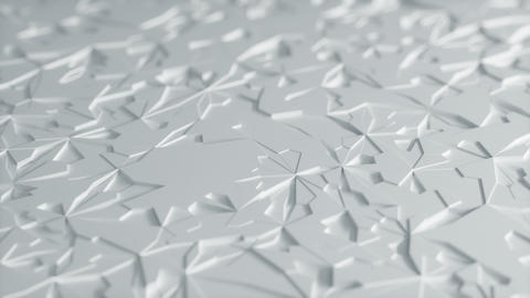 Abstract Low poly White Ice Background Loop with Depth of Field Side View Animation