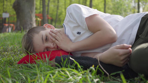 Portrait of a cute boy lying on green grass in spring park. Outdoor recreation Live Action