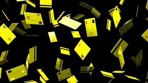 Yellow Credit cards on black background Stock Video Footage