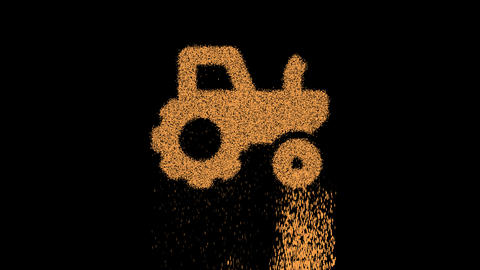 Symbol tractor appears from crumbling sand. Then crumbles down. Alpha channel Premultiplied - Matted Animation