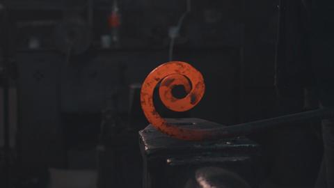 Cooling of forging metal detail Footage