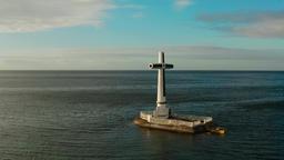 Sunken Cemetery cross in Camiguin island, Philippines Footage