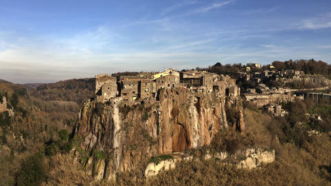 Aerial view of comune and town of Calcata on high rock. Lazio, Italy Live Action