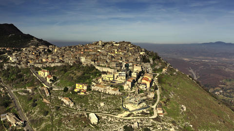 Aerial view of town of Sant'Oreste on the mountain, Italy Archivo