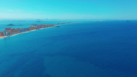 Aerial view. Flight over gorgeous islands, long spit La-Manga,Spain, beautiful Archivo