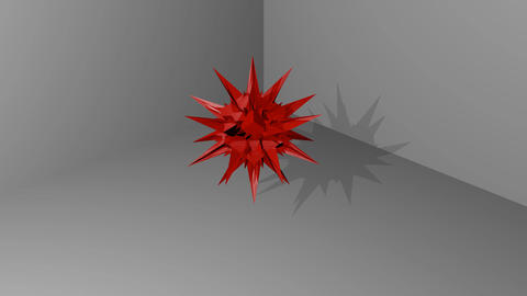 [alt video] red abstract spatial object with spines hovering in...