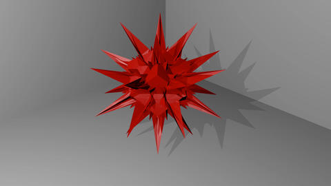 [alt video] red abstract spatial object with spines hovering in…