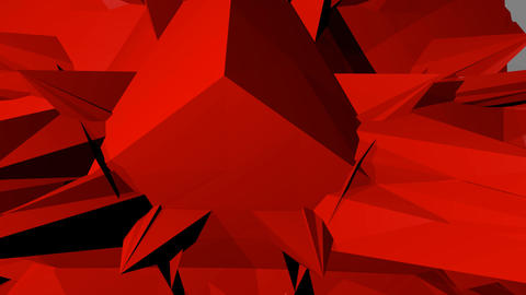 red abstract spatial object with spines hovering in space, rotation, zooming Videos animados