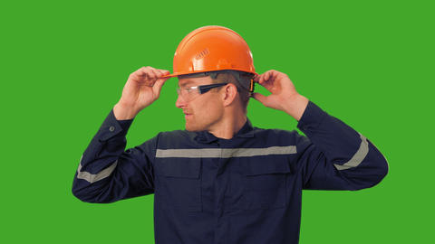 Worker demonstrates the need for a helmet GIF