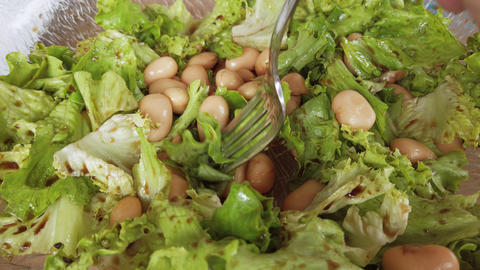 Healthy meal, unstaged homemade salad with salmon, green string and brown beans Live Action