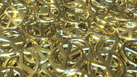 Golden peace sign tokens or badges. Conceptual 3D animation Live Action